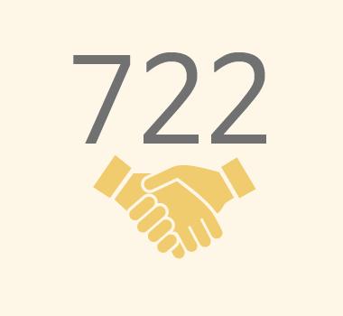 친구사이의 재정 후원보고 이미지 파일입니다. 722명의 정기 후원자가 있습니다.