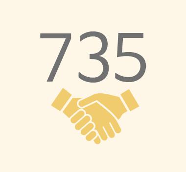 친구사이의 재정 후원보고 이미지 파일입니다. 735명의 정기 후원자가 있습니다.