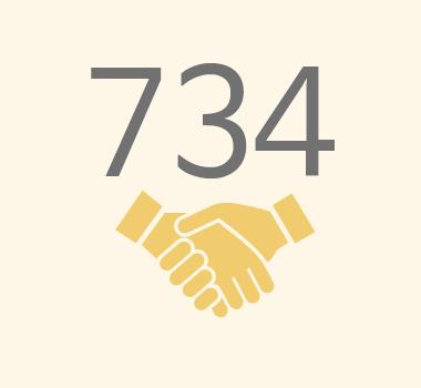 친구사이의 재정 후원보고 이미지 파일입니다. 734명의 정기 후원자가 있습니다.