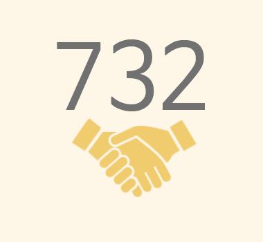 친구사이의 재정 후원보고 이미지 파일입니다. 732명의 정기 후원자가 있습니다.