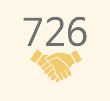 친구사이의 재정 후원보고 이미지 파일입니다. 726명의 정기 후원자가 있습니다.