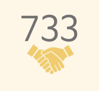 친구사이의 재정 후원보고 이미지 파일입니다. 733명의 정기 후원자가 있습니다.