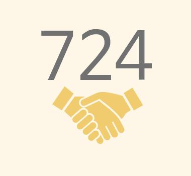 친구사이의 재정 후원보고 이미지 파일입니다. 724명의 정기 후원자가 있습니다.