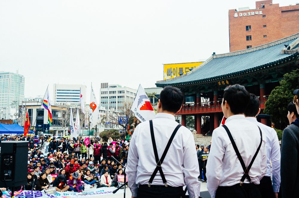 서울 종로1가의 보신각에서 '3.21 세계인종차별철폐의날(International Day for the Elimination of Racial Discrimination)' 공동행동 행사가 개최되었다.